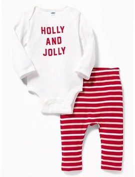 2 Piece Holiday Graphic Bodysuit & Pants Set For Baby by Old Navy