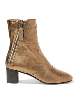 Lexie Metallic Leather Ankle Boots by Chloé
