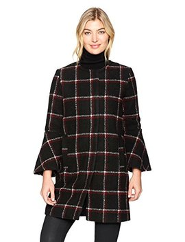 Bb Dakota Women's Hewes Plaid Coat With Bell Sleeves by Bb+Dakota