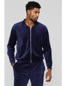 Hue Velour Track Jacket   Navy by Fashion Nova