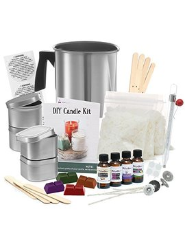 Complete Diy Candle Making Kit Supplies – Create Large Scented Soy Candles – Full Beginners Set Including 2 Lb Wax, Rich Scents, Dyes, Wicks, Melting Pitcher, Tin Containers And More by Dila Bee