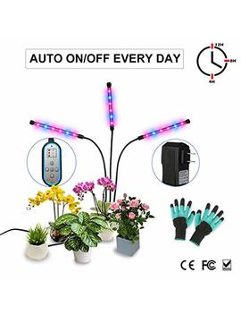 Grow Light, Auto On & Off Every Day With Two Way Timer 36 W Triple Head Growing Lamp For Indoor Plants, High Power Led, 8 Dimmable Levels, 4/8/12 H Memory Timing For Hydroponics Greenhouse Gardening by Melophy