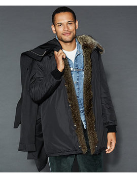 Hooded Fur Trim Parka by The Fur Vault