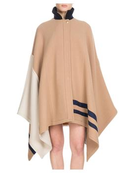 Button Front Multicolor Iconic Soft Wool Oversized Cape by Chloe