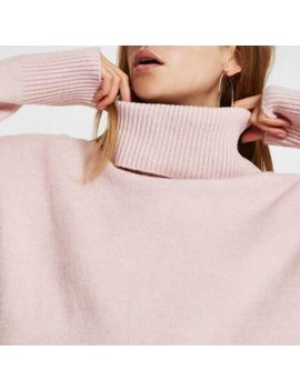 Pink Oversized Roll Neck Sweater by River Island
