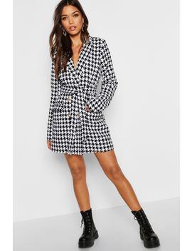 Heavy Tweed Effect Tailored Blazer Dress by Boohoo