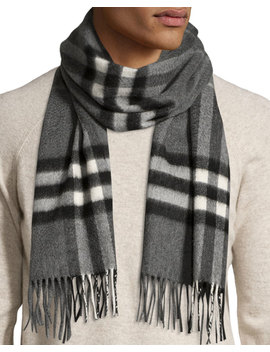Men's Cashmere Giant Icon Scarf, Gray by Burberry