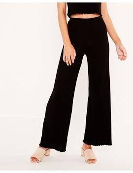 Frill Hem Knit Pants by Glassons