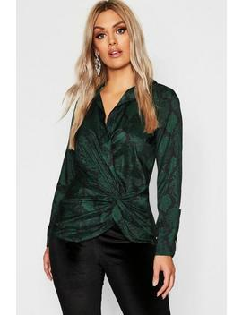 Plus Twist Front Snake Print Shirt by Boohoo