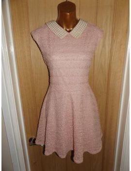 Gorgeous Pink Knit Pearl Bead Shimmer Evening Party River Island Dress Size 12 by Ebay Seller