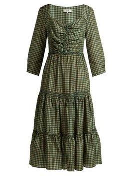 Ethno Pop Tiered Washed Silk Midi Dress by Sea