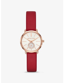 Petite Portia Rose Gold Tone And Leather Watch by Michael Kors
