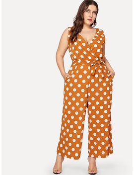 Plus Overlap Front Polka Dot Jumpsuit by Shein