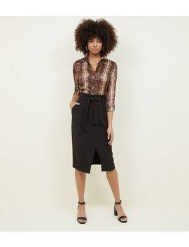 Black Paperbag Waist Midi Skirt by New Look