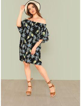 Plus Pineapple Print Ruffle Trim Bardot Dress by Shein