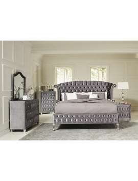 Deanna Bedroom Traditional Metallic Silver 4 by Coaster
