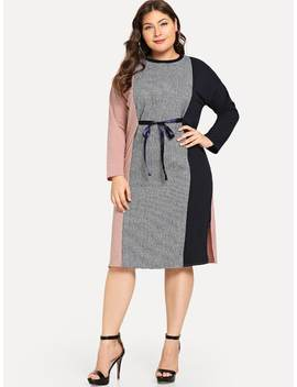 Plus Tie Front Color Block Dress by Sheinside