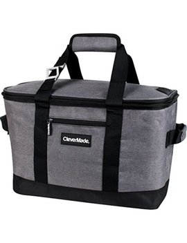 Clevermade Snapbasket 50 Can, Soft Sided Collapsible Cooler: 30 Liter Insulated Tote Bag, Heathered Charcoal/Black by Clevermade