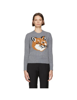 Grey Fox Head Sweater by Maison KitsunÉ