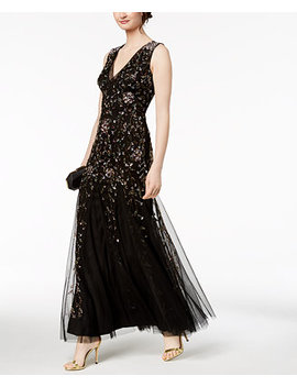 Beaded Mesh Gown by Adrianna Papell