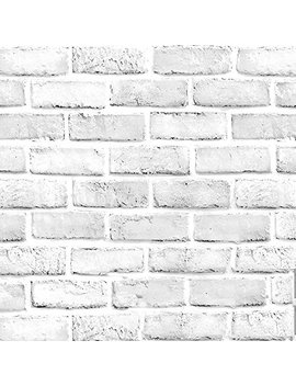 Blooming Wall 1022 Prepasted Painted White Brick Stone Peel And Stick Wallpaper Décor Self Adhesive Wallpaper Contact Paper (1022 (48 Sq.Ft./Roll)) by Blooming Wall