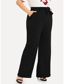 Plus Cuffed Flared Leg Pants With Belt by Shein