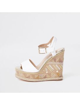 White Embellished Espadrille Wedge Sandals by River Island