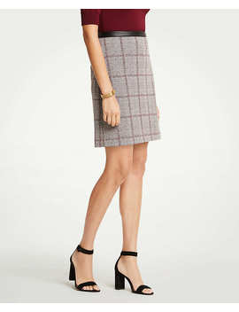 Faux Leather Trim Plaid A Line Skirt by Ann Taylor