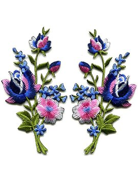 Pink Blue Roses Pair Flowers Floral Bouquet Boho Embroidered Appliques Iron Ons Patches New by Tk Patch