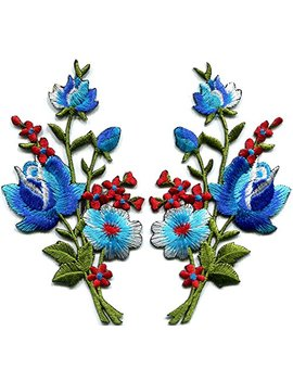 Blue Roses Pair Flowers Floral Bouquet Boho Embroidered Appliques Iron Ons Patches New by Tk Patch