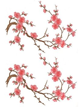 Two Asian Cherry Blossom Sakura Flower Iron On Embroidered Appliques Patch Japanese Chinese (Pink) by Emmas By Emma