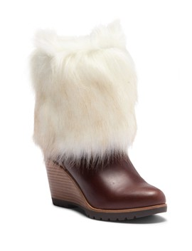 Park City Faux Fur Cuff Wedge Boot by Sorel