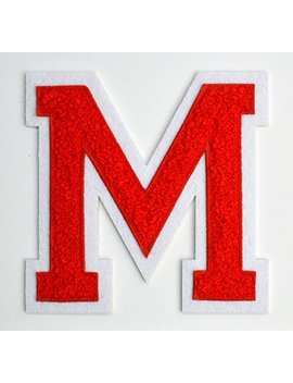 Varsity Letter Patches   Red Embroidered Chenille Letterman Patch   4 1/2 Inch Iron On Letter Initials (Red, Letter M Patch) by Letter It