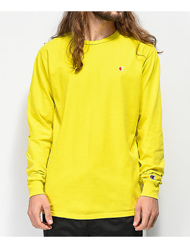 Champion Heritage Tart Yellow Dyed Long Sleeve T Shirt by Champion