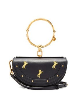 Nile Horse Embroidered Miniaudiere Leather Clutch by Chloé