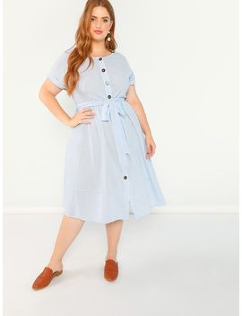 Plus Batwing Sleeve Self Belted Button Up Striped Dress by Shein