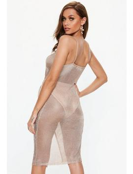 Rose Gold Metallic Knitted Wrap Midi Dress by Missguided