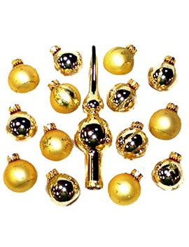 Set Of 15 Gold Mini Glass Ball Christmas Ornaments And Finial Tree Topper by Kurt Adler