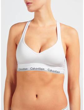 Calvin Klein Underwear Modern Cotton Cross Strap Bralette, White by Calvin Klein