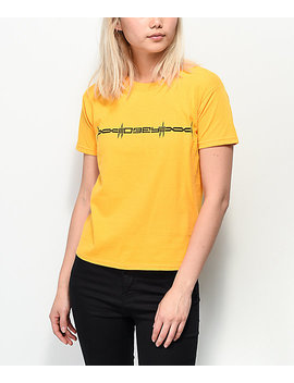 Obey Barbed Shrunken Gold T Shirt by Obey