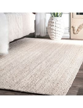 Havenside Home Coopers Handmade Eco Natural Fiber Braided Reversible Jute White Area Rug by Havenside Home