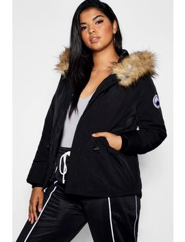 Plus Faux Fur Trim Hood Jacket by Boohoo
