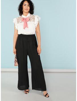 Plus Tie Neck Ruffle Trim Color Block Jumpsuit by Shein