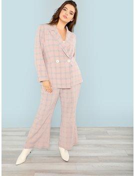 Plus Notch Collar Plaid Blazer And Pants Set by Shein