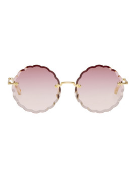 Gold Scalloped Edge Rimless Sunglasses by ChloÉ
