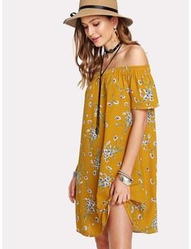 Calico Print Bardot Dress by Sheinside