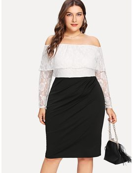 Plus Flounce Layered Neck Two Tone Lace Dress by Shein