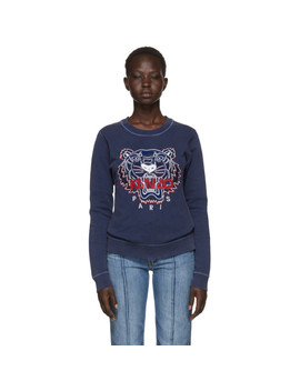 Navy Limited Edition Bleached Tiger Sweatshirt by Kenzo