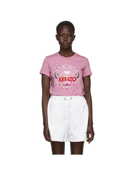 Pink Limited Edition Bleached Tiger T Shirt by Kenzo