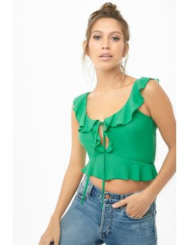 Ruffle Tie Front Crop Top by Forever 21